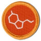 Merit Badges for Excellence in Life. No. 004: Serotonin molecule. Happiness