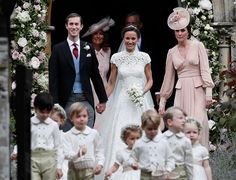 Kate Middleton joins newly weds James and Pippa as they stroll out of church a married couple