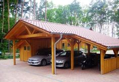 Saddle roof carport with equipment compartment - Modern Carport Sheds, Carport Garage, Pergola Carport, Diy Pergola, Pergola Kits, Pergola Ideas, Wooden Carports, Rv Carports, Car Shed