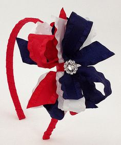 Look what I found on #zulily! Red & Navy Rhinestone Bow Headband #zulilyfinds