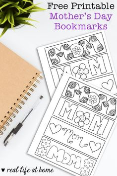 Free printable set of four color your own Mother's Day bookmarks for kids of all ages. These bookmarks feature flowers, hearts, and Mom-themed drawings. Free Printable Bookmarks, Cute Bookmarks, Free Printables, Mothers Day Crafts For Kids, Fathers Day Crafts, Easy Crafts For Kids, Mothers Day Coloring Pages, Coloring Pages For Kids, Father's Day Activities