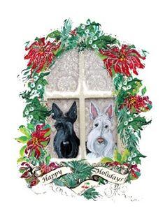 Scottish Terrier Christmas illustration  Scotty dog