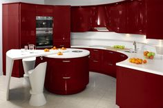 kücheninseln lebendiges design rot rund funktional