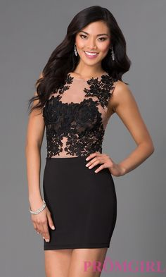 Image of Party Dress with Illusion Lace Bodice Detail Image 1