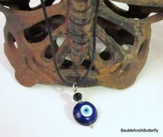 Evil Eye Pendant, Protection Amulet, Cobalt Blue Necklace, Protection Necklace, Handmade, Reversible Pendant, Blue Glass, Gift for Her by BaubleandaButterfly on Etsy