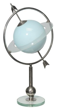 Art Deco Chrome and Frosted Glass Saturn Table Lamp - I could definitely find a place or two for this.