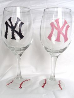 NEED THESE... New York Yankees Hand Painted Wine Glass by MaureenMakesIt on Etsy, $18.00