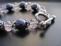 Pink Mystic Quartz Bracelet Swarovski Blue by DesignsByTahra,