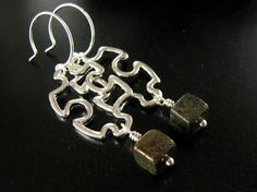 Pyrite Silver Earrings Gemstone Earrings Geometric by adornyou, $20.95