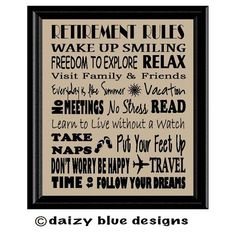 Retirement Subway Art Retirement Gift Retiree by DaizyBlueDesigns, $8.00