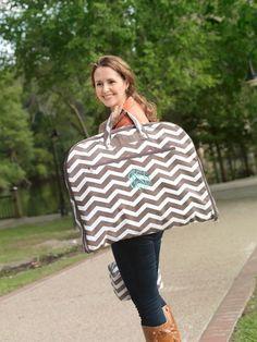 Taupe Chevron Garment Bag   The Preppy Pair