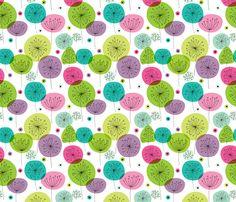 Cute kids flower pastel wallpaper fabric by littlesmilemakers on Spoonflower - custom fabric