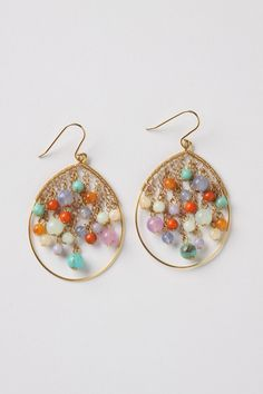 End Of The Rainbow Earrings: Brightly colored droplets reflect the spectrum of a sunny corona.