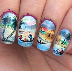 ...and here's #soloshot of my #freehandnailart from my twin nails with the lovely Anette @nette1919. (Check out her page for her soloshot, she does 100% freehand nailarts!) This was 100% all done with acrylic paint. This fishing village landscape mani was a recreation of an artwork by Tranh Ve Canh Dong Que (or so it seems, I couldn't read vietnamese ). Have a great night/day lovelies!  #twinsienailart