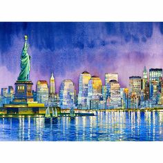Statue of Liberty at Night watercolor painting by Roustam Nour fine art giclée print for sale. This New York Art painting reproduction is printed on exhibition quality textured watercolor paper. Three sizes available of this New York artwork. Prices start from $30.00.