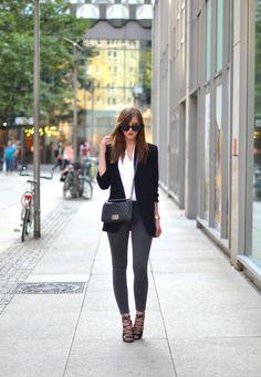 Just The Design: Black blazer, white shirt, grey trousers and lace up shoes. Via Barbora Ondrackova Top/Blazer: Zara blazer, Jeans: Topshop, Shoes: Missguided, Bag: Chanel