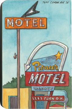 Route 66 sketch by Chandler O'Leary Sketchbook Drawings, Sketching, Travel Journals, Pen And Watercolor, Journal Themes, Urban Sketchers, Googie, Route 66, Motel