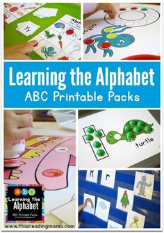 Learning the Alphabet: ABC Printable Packs for the Young Learner ~ included in the packs are readers for each letter, hands-on activities for letters and letter sounds and numbers 1-10 | This Reading Mama