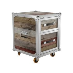 For hard-working storage with rugged good looks, try out this two-drawer chest. Made from a handsome combination of aluminum edging and raw reclaimed teak, it's a perfect addition to bedrooms or the of...  Find the Nashville Two-Drawer Chest, as seen in the Gifts for Him Collection at http://dotandbo.com/collections/holiday-gift-guide-gifts-for-him?utm_source=pinterest&utm_medium=organic&db_sku=92180