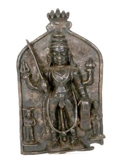 BRONZE PLAQUE OF SHIVA South Central India 19th Century Cast Bronze Votive Plaque of Shiva in The Warrior form of Virabhadra<