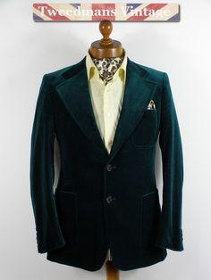 Vintage green velvet mens jacket
