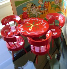 Vintage Miniature Doll Furniture Table and 4 Chairs Kitchen Set Circa 1950s