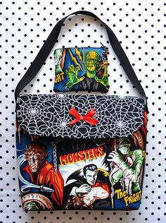 Classic Horror Movie Monsters and Glow in the Dark Spider Webs Purse with Matching Makeup Bag Set - SOLD