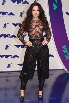 Demi Lovato in Zuhair Murad Couture and Casadei shoes. 2017 MTV VMAs Red Carpet | InStyle.com