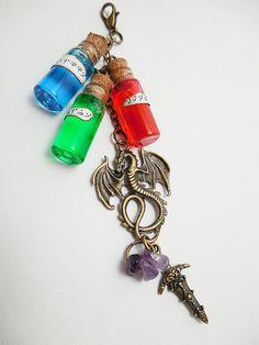 Elder Scrolls Skyrim Potions Keychain: Magicka, Health, and Stamina