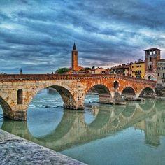 Ponte Pietra.  #Verona #Italia #Italy  #foto2186 #20150819 #vacances #holidays #arquitectura #architecture #travel #riu #river #reflexes #reflection #pont #bridge #wanderlust #catalansviatgers by blackhole66