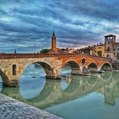Ponte Pietra.  #Verona #Italia #Italy  #foto2186 #20150819 #vacances #holidays #arquitectura #architecture #travel #riu #river #reflexes #reflection #pont #bridge #wanderlust #catalansviatgers by blackhole66