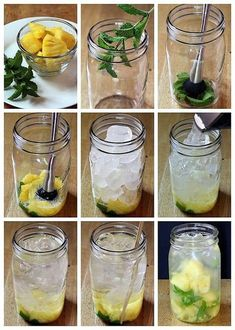 """infused water recipes An easy formula for making a variety of fruit and herb infused waters. Say goodbye to soda, juice, & bottled water with these refreshing """"spa water"""" flavors! Yummy Drinks, Healthy Drinks, Healthy Snacks, Healthy Recipes, Fast Recipes, Summer Recipes, Fruit Infused Water, Fruit Water, Infused Waters"""