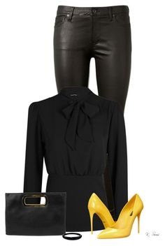 """""""Black......and Yellow"""" by ksims-1 ❤ liked on Polyvore featuring AG Adriano Goldschmied, Dolce&Gabbana, Gunne Sax By Jessica McClintock and Alexis Bittar"""