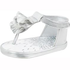 Baby Deer Metallic Silver Ruffle Sandals. Sliver Strut!  Shine in sliver this summer with these sparkling shoes! Let the little girl in your life look amazing and stylish in these fancy footwear! Not only are they fashionable, but cozy too, your little girl will be s.. . See More Shoes at http://www.ourgreatshop.com/Shoes-C201.aspx