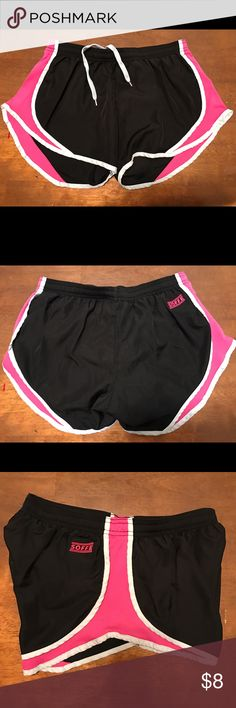 "💥NEW ITEM💥 SOFFE Shorts Black & Hot Pink w/Gray trim SOFFE shorts. Lined. Machine wash cold. Drawstring elastic waist. 100% polyester. Size S juniors. Waist 13"" Inseam 3""  NO TRADES!  #228 Soffe Shorts"