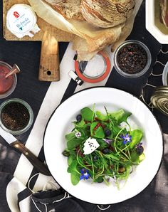 Rezept für Sommersalat an Himbeerdressing