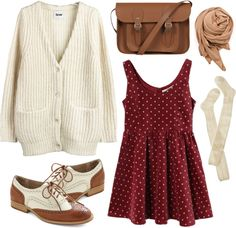 """Burgundy dots"" by hanaglatison ❤ liked on Polyvore"