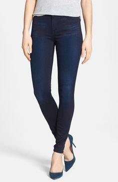 7 For All Mankind® High Rise Skinny Jeans (Blue Black Sateen) available at #Nordstrom