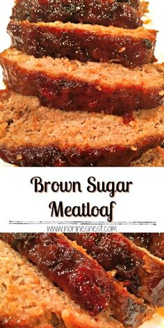 Juicy dense flavorful meatloaf with a thick rich sweet brown sugar savory glaze! This is the PERFECT meatloaf! This tasty meatloaf flavored lightly with ginger, has a sweet brown sugar and ketchup glaze. It's the BEST meatloaf EVER! Good Meatloaf Recipe, Meat Loaf Recipe Easy, Best Meatloaf, Meatloaf Recipes, Onion Recipes, Meat Recipes, Gourmet Recipes, Cooking Recipes, Hamburger Recipes