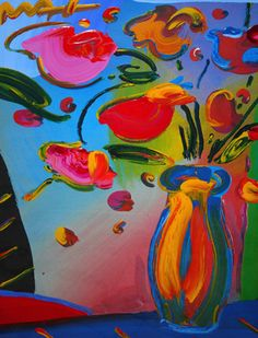 """Peter Max """"Flowers"""" Works on Paper (not prints) Mixed Media Painting with Acrylic and Lithography 24 x 18 in  