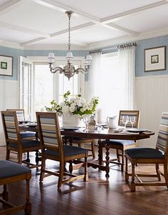 Blue with wainscotting and beams  Ceiling