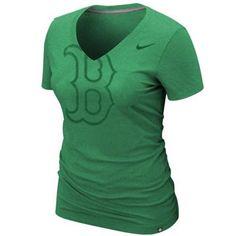 Nike Boston Red Sox Ladies St. Paddy's Day Deep V Tri-Blend T-Shirt - Kelly Green