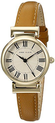 Women's Wrist Watches - Anne Klein Womens AK2246CRHY GoldTone and Honey Leather Strap Watch ** You can find more details by visiting the image link.