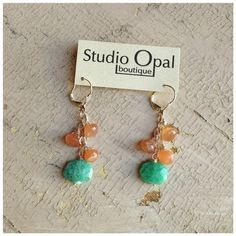 Amazonite & Peach Moonstone Earrings by rootielicious on Etsy