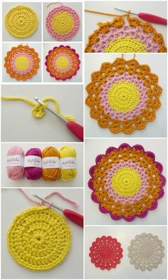 Crochet Motif 60 Free Crochet Mandala Patterns - Page 7 of 12 - DIY Crochet Mandala Pattern, Crochet Flower Patterns, Crochet Squares, Crochet Flowers, Knitting Patterns, Thread Crochet, Diy Crochet, Crochet Doilies, Crochet Stitches
