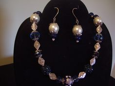 Blue/pearl/silver Necklace and earrings set. 2-107 $42.00