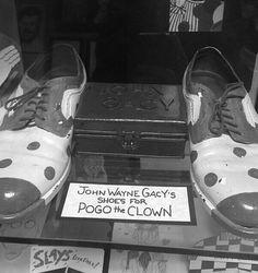 "John Wayne Gacy Crime Memorabilia, Gacy's ""Pogo The Clown"" Shoes Creepy History, Haunted History, John Wayne Gacy, Clown Shoes, True Crime Books, Charles Manson, Serial Killers, Chicago Area, Young Men"