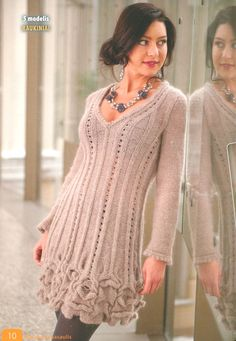 Dress knitting from Angora Crochet Motifs, Knit Crochet, Knit Dress, Dress Skirt, Knitwear Fashion, Knitting Stitches, Winter Dresses, Crochet Clothes, Clothing Patterns