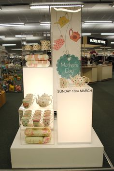 // display // visual merchandising // mothers day display // 2012 // mugs and cushions // cath kidston