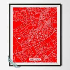 HARROGATE, ENGLAND STREET MAP PRINT by Voca Prints! Modern street map art poster with 42 color choices. Perfect for anyone who loves to travel or is away from home.